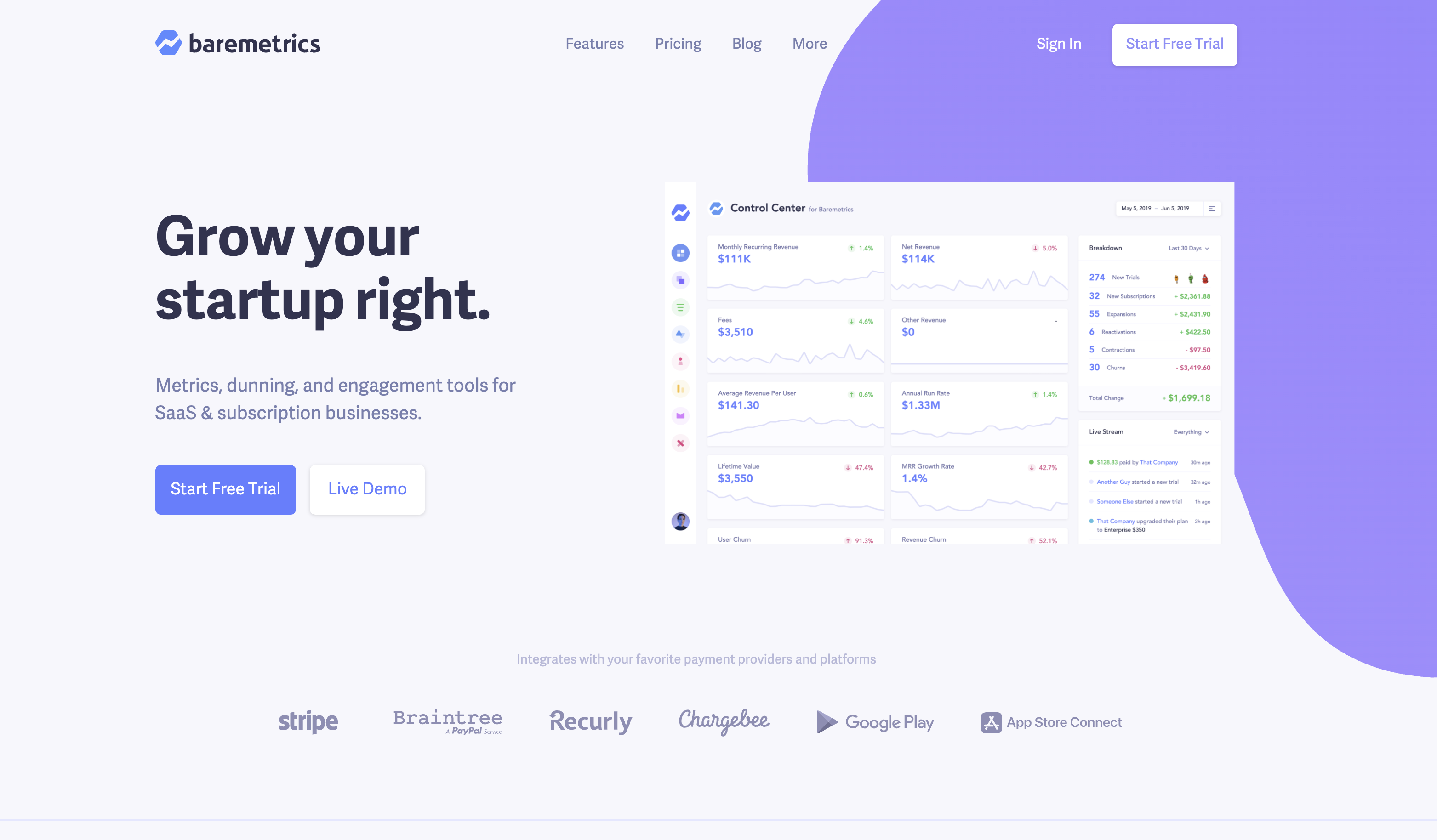 Baremetrics Homepage, Grow your startup right.